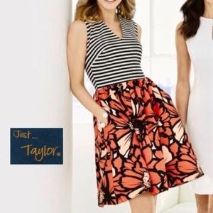 Just...Taylor Stripes and Floral Dress